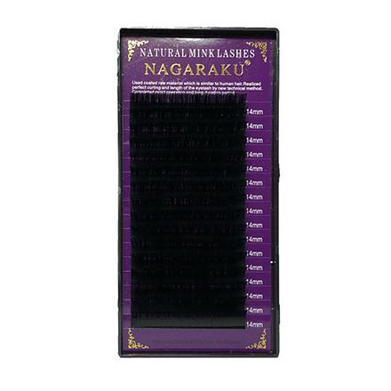 NAGARAKU, Ресницы на ленте Natural Mink, 14/0,07 мм, D-изгиб