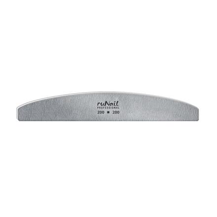 ruNail, Пилка для искусственных ногтей серая, полукруглая, 200/200
