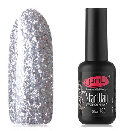 PNB, Гель-лак №185, Star way, Silver