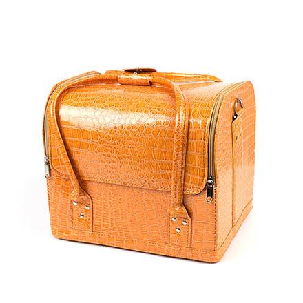 TNL, Кейс маникюриста, оранжевый, имитация кожи крокодила