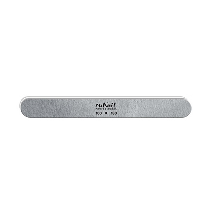 ruNail, Пилка для искусственных ногтей серая, закруглённая, 100/180