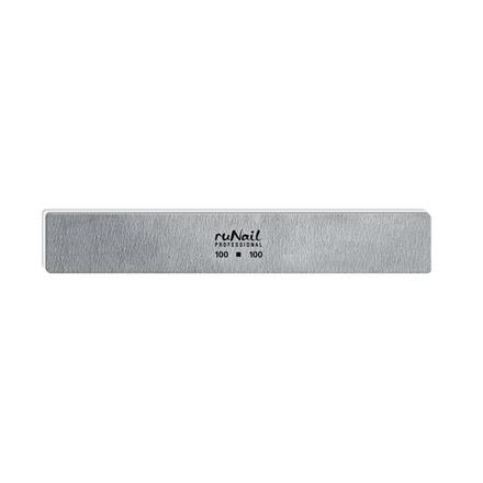 ruNail, Пилка для искусственных ногтей серая, прямая, 100/100
