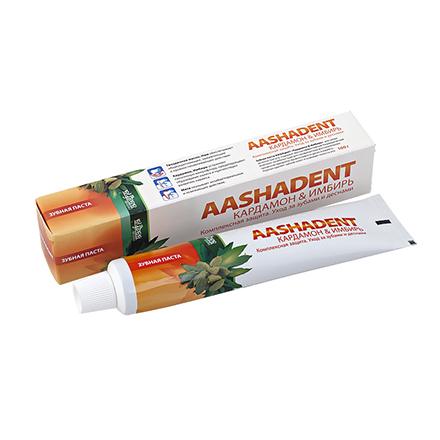 Aasha Herbals, Зубная паста «Кардамон и имбирь», 100 г