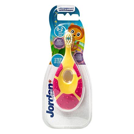 Jordan, Детская зубная щетка Step by Step 0-2, желто-розовая