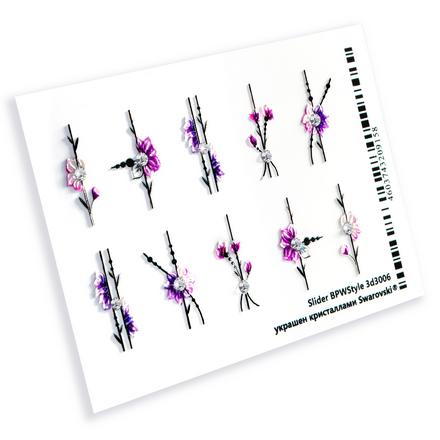 Слайдер-дизайн для ногтей цветочный принт BPW.Style