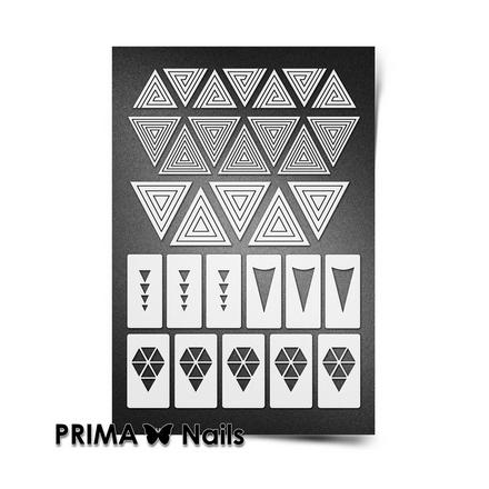 Prima Nails, Трафареты «Геометрия», белые треугольники
