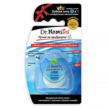 Dr.NanoTo, Зубная нить с мятой 5 in 1, 50 м
