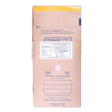 КлиниПак, Крафт-пакеты самоклеящиеся, 100х200 мм, 100 шт.
