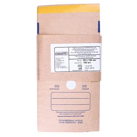 КлиниПак, Крафт-пакеты самоклеящиеся, 80х150 мм, 10 шт.