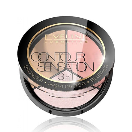 Eveline, Палитра для макияжа лица Contour Sensation 3 in 1, тон 01