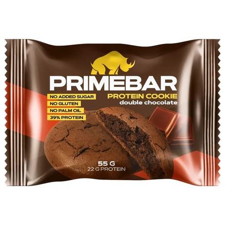Primebar, Протеиновое печенье «Двойной шоколад», 55 г