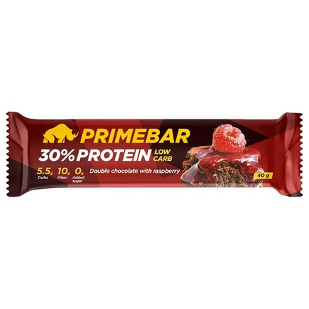 Primebar, Протеиновый батончик «Двойной шоколад с малиной», 40 г