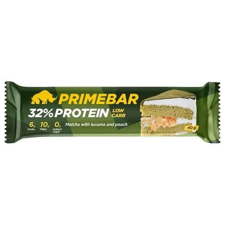 Primebar, Протеиновый батончик «Чай матча с персиком и плодами лукумы», 40 г