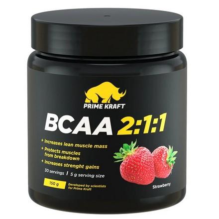 Prime Kraft, Аминокислоты BCAA 2:1:1 «Клубника», 150 г