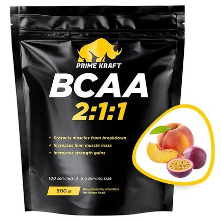 Prime Kraft, Аминокислоты BCAA 2:1:1 «Персик и маракуйя», 500 г