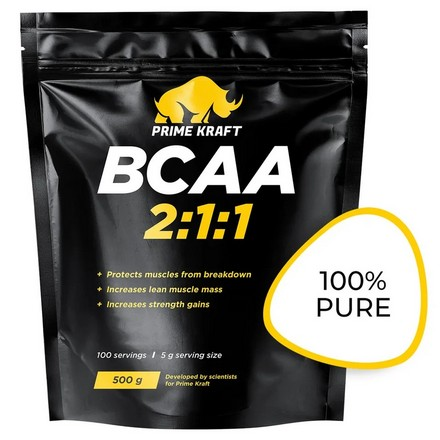 Prime Kraft, Аминокислоты BCAA 2:1:1, без вкуса, 500 г