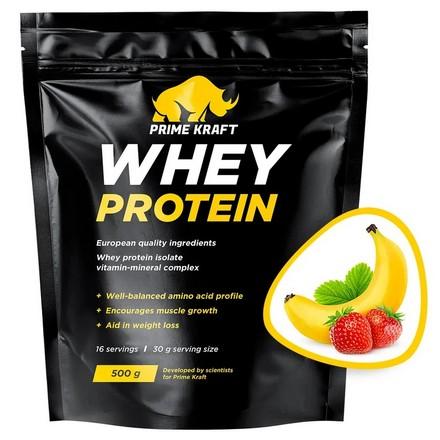 Prime Kraft, Сывороточный протеин «Клубника и банан», 500 г