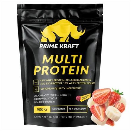 Prime Kraft, Мультипротеин «Клубника-банан», 900 г