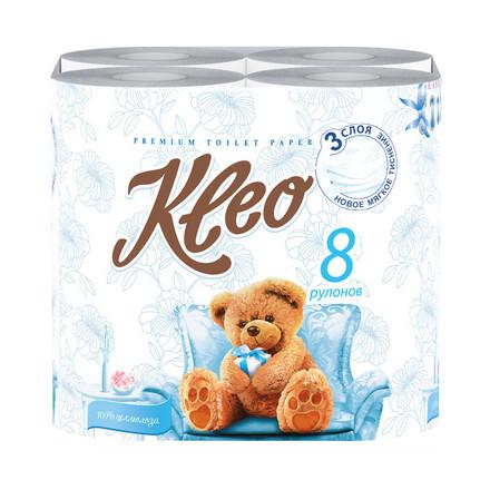 Kleo, Бумага туалетная Ultra, 3 слоя, 8 рулонов
