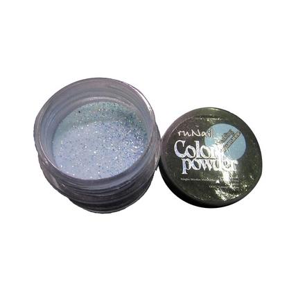ruNail, Цветная акриловая пудра (с блёстками, аквамариновая, Sparkling Aquamarine), 7,5 гр