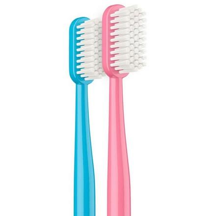 Synergetic, Зубная щетка Eco Dental Care, medium, розовая и голубая