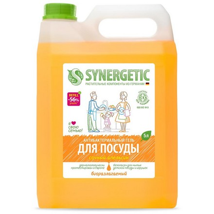 Synergetic, Гель для мытья посуды «Сочный апельсин», 5 л