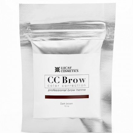 Lucas' Cosmetics, Хна для бровей CC Brow, темно-коричневая, в саше, 10 г