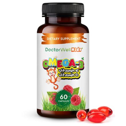 DoctorWell, Биодобавка Omega-3 для детей, 60 капсул
