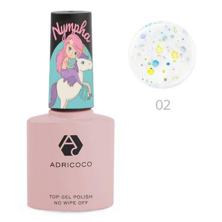 ADRICOCO, Топ для гель-лака Nympha № 02, Волшебная бабочка