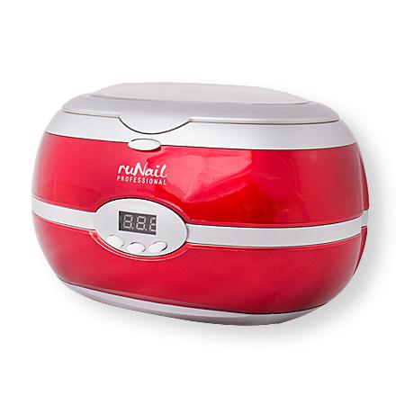 ruNail, Стерилизатор ультразвуковой с цифровым дисплеем 35 Вт, цвет красно-серебристый