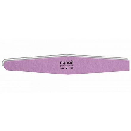 Купить RuNail, Пилка для искусственных ногтей, сиреневая, ромб, 180/200