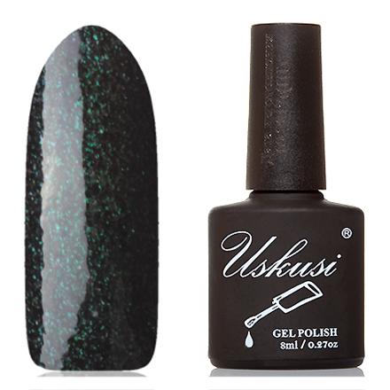 Uskusi, Гель-лак №129Uskusi<br>Гель-лак (8 мл) черный, с изумрудными и пурпурными микроблестками, плотный.