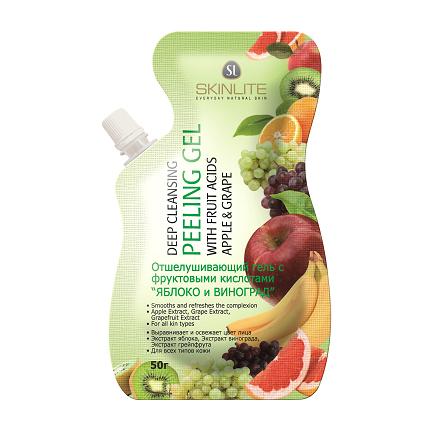 Skinlite, Отшелушивающий гель-пилинг с фруктовыми кислотами Яблоко и виноград
