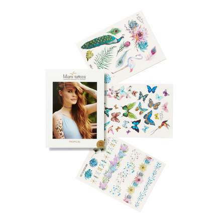 Miami Tattoos, Набор переводных тату Tropical flash tattoos sheebani authentic metallic temporary tattoos