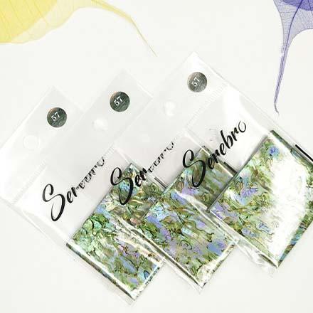 Serebro, Фольга для дизайна ногтей №57, зеленый мрамор  - Купить