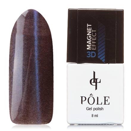 POLE, Гель-лак 3D №3, УльтрамаринPOLE<br>Магнитный гель-лак (8 мл) на прозрачной подложке черного цвета, с ультрамариновыми/пурпурными микроблестками, полупрозрачный.<br><br>Цвет: Синий<br>Объем мл: 8.00