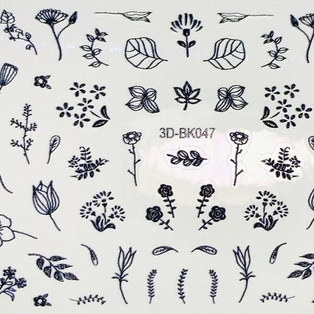 Anna Tkacheva, 3D-стикер №047 «Цветы. Листья», черный фото