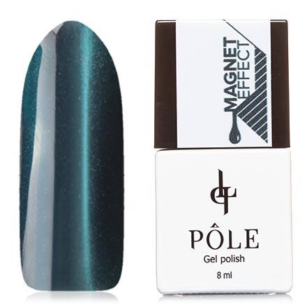POLE, Гель-лак №80, Черное мореPOLE<br>Магнитный гель-лак (8 мл) фиолетово-синий, с мятно-зелеными  микроблестками, плотный.
