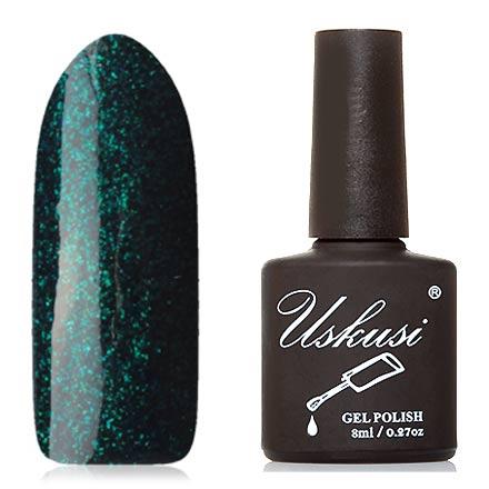 Uskusi, Гель-лак №338Uskusi<br>Гель-лак (8 мл) темно-зеленый, с изумрудными мелкими блестками, плотный.