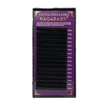 NAGARAKU, Ресницы на ленте Natural Mink, 13/0,10 мм, D-изгибНаращивание ресниц<br>Ресницы для поресничного метода наращивания. В упаковке 16 линий.
