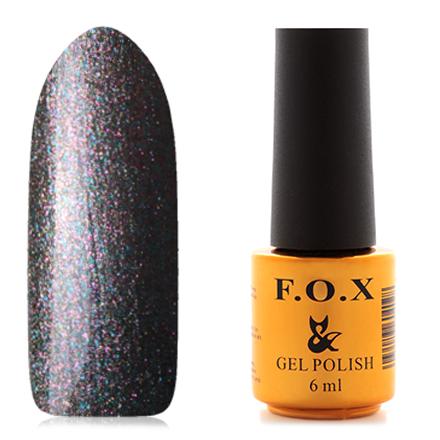 FOX, Гель-лак Pigment №096F.O.X<br>Гель-лак (6 мл) на серой подложке с голографическими микроблестками, полупрозрачный.<br><br>Цвет: Черный<br>Объем мл: 6.00