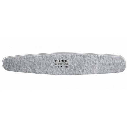 Купить RuNail, Пилка для искусственных ногтей, серая, овал, 180/200