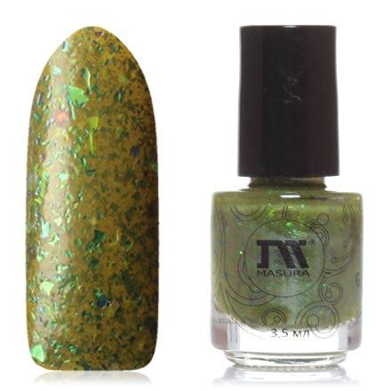 Masura, Лак для ногтей «Золотая коллекция», Forest fairyMasura<br>Лак для ногтей (3,5 мл) цвета хаки, с зеленой фольгой, плотный.<br><br>Цвет: Зеленый<br>Объем мл: 3.50