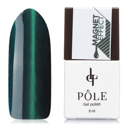 POLE, Гель-лак №1, Бирюзово-зеленыйPOLE<br>Магнитный гель-лак (8 мл) бирюзово-зеленый, с изумрудными микроблестками, плотный.