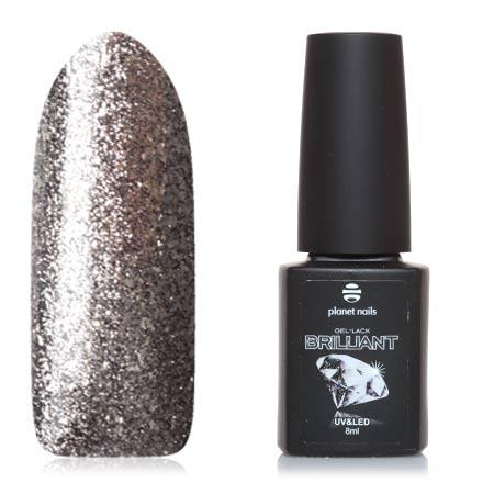 Planet Nails, Гель-лак Brilliant №707Planet Nails<br>Гель-лак (8 мл) на прозрачной подложке темно-серого цвета, с серебряной фольгой, плотный.<br><br>Цвет: Черный<br>Объем мл: 8.00