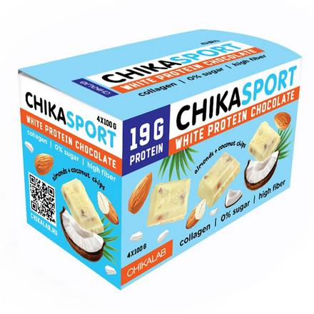 Chikalab, Шоколад белый ChikaSport, с миндалем и кокосовыми чипсами, 4x100 г