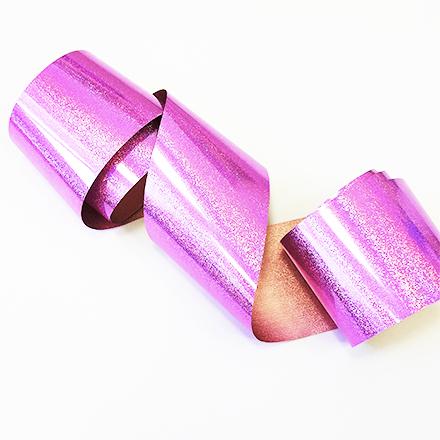 Купить De.Lux, Фольга переводная голографическая с шиммером, розовая