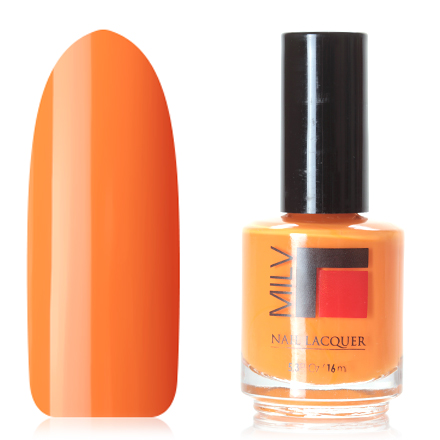Milv, Лак для ногтей №115Milv<br>Лак для ногтей (16 мл) желто-оранжевый, без перламутра и блесток, плотный.<br><br>Цвет: Оранжевый<br>Объем мл: 16.00