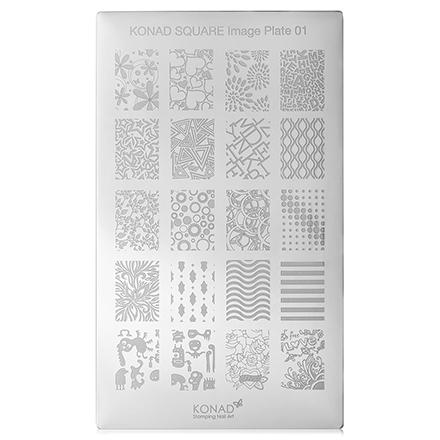 Konad, Пластина для стемпинга Square Image Plate № 01