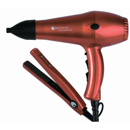 Hairway Professional, Фен Ruby Ceramic Ionic + щипцы Ceramic Ruby Iron